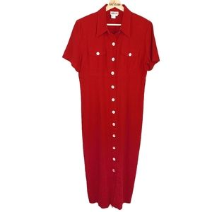 Robbie Bee VTG Red Linen Rayon Maxi Dress 12